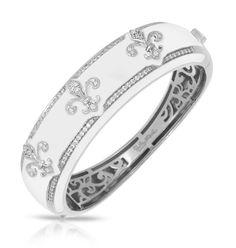 Fleur de Lis White Bangle by Belle Étoile.  Street Fashion.  Fashion Jewelry.  Silver Jewelry.  White Enamel Bangle