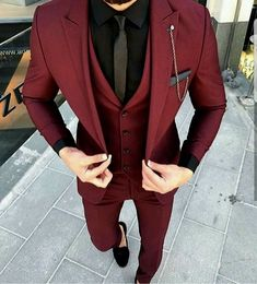 Custom Made Groom Wedding Tuxedos Groomsmen Burgundy Slim Suits Fit Best Man Suit Men's Suits Bridegroom Groom Wear (Jacket+Vest+Pants) 14 suits men Men's Suits, Groomsmen Suits, Dress Suits, Cool Suits, Men Dress, Men In Dresses, Fitted Suits, Formal Dresses For Men, Formal Outfits