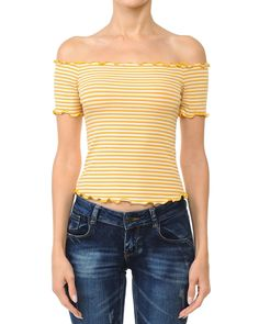db248be961330 Striped Ribbed Lettuce Edge Off The Shoulder Top - Sidecca