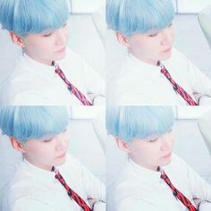 Soft blue haired Suga. <3  BTS || Min Yoongi || Suga