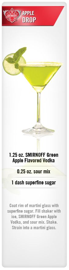 BAD- Apple Drop drink recipe with Smirnoff Green Apple Flavored Vodka, sour mix, and sugar. Vodka Cocktails, Non Alcoholic Drinks, Cocktail Drinks, Cocktail Recipes, Martinis, Cocktail Parties, Drink Recipes, Party Drinks, Fun Drinks