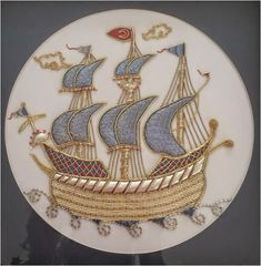 Blue Goldwork Ship ~ embroidered by Elizi   Hobby embroidery, cake, painting, polymer clay, design and life on everything ...: Gold Embroidery