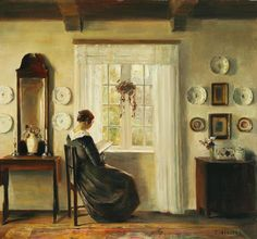 View Interior with the painters wife reading at the window by Carl Vilhelm Holsøe on artnet. Browse upcoming and past auction lots by Carl Vilhelm Holsøe. Classic Paintings, Beautiful Paintings, Jig Saw, Reading Art, Art Society, Famous Art, Oil Painting Reproductions, Light Painting, Oeuvre D'art