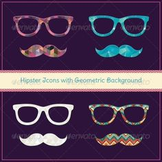 Set of Hipster Icons with Geometric Grunge Background Pattern