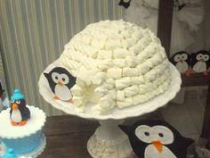 Pinguim - iglu com marshmallow e bola de isopor