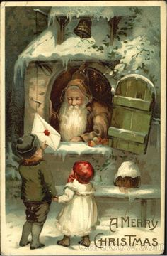 "Brown Robe St Nicholas and Children. ""A Merry Christmas"" antique Christmas postcard, Vintage Christmas Images, Victorian Christmas, Retro Christmas, Christmas Pictures, Christmas Art, Christmas Greetings, Winter Christmas, Father Christmas, Outdoor Christmas"