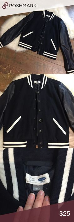 Varsity Jacket This is a varsity style jacket from Old Navy in a size medium. It has the striped cuff and collar detail with faux leather sleeves. The measurements are included in the photos, but please let me know if you have any questions. Thanks! Old Navy Jackets & Coats