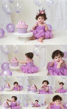 purple and silver cake smash Half Birthday Baby, 1st Birthday Girl Decorations, Birthday Girl Pictures, 1st Birthday Photoshoot, 1st Birthday Party For Girls, 1st Birthday Cake Smash, Girl Birthday Themes, Birthday Girl Dress, Butterfly Birthday