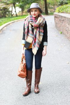 Poor Little It Girl - Nordstrom Rack Fall Fashion - Plaid Scarf, Riding Boots and Black Blazer Brown Riding Boots, Autumn Winter Fashion, Fall Fashion, Winter Style, Style Fashion, Blogger Girl, Casual Fall, Signature Style, Womens Scarves