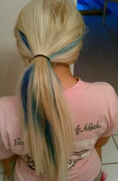 blonde and blue streaks. totally want but with pink instead