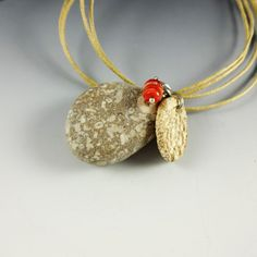 Jewelry Pendant Fossil Beach Stone by CalliopeAZCreations on Etsy, $26.00