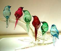 Murano glass birds.