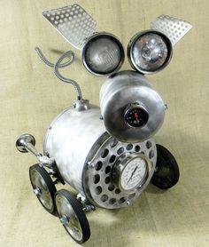 JALOPY  Robot Dog Assemblage  Reclaim2Fame by reclaim2fame on Etsy, $625.00