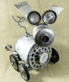 JALOPY  Robot Dog Assemblage  Reclaim2Fame by reclaim2fame on Etsy, $625.00