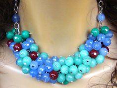 Statement multicolor necklace  CORNELIAN  di Frammentidivetro