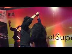 Fashiongoers strike a relay dance move #Vh1Supersonic Arcade with Steve Aoki! #SINatSupersonic