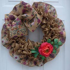 Spring Wreaths for Front Door /Spring Burlap Wreath/ Front