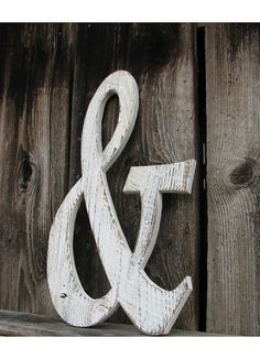 white barn wood ampersand symbol painted by SecondNatureWoodwork