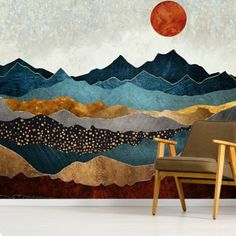 Amber Dusk Wallpaper Wall Murals Stunning Amber Dusk wall mural by SpaceFrog Designs. This high quality Amber Dusk wallpaper is custom made to your dimensions. Bedroom Wallpaper Accent Wall, Accent Walls In Living Room, Mural Wall Art, Mural Painting, Print Wallpaper, Wallpaper Murals, Wallpaper Designs For Walls, Interior Wallpaper, Wallpaper Wallpapers