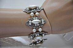 Bridal BraceletSwarovski CrystalPearl by cynthiacouture on Etsy, $159.00