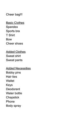 Basic Cheer bag Necessities