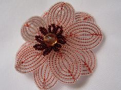 Clearly Red French Beaded Flower Pin - Etsy seller beadsinbloom