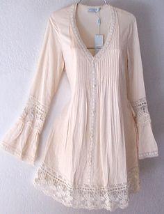 New Long Ivory Crochet Lace Peasant Blouse Shirt Tunic Boho Top 8 10 M Medium | eBay                                                                                                                                                                                 More