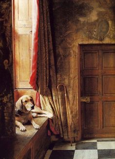 faithful friend in a dusty corner of a grand country house with antique tapestry