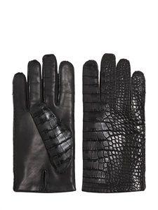 Crocodile Leather & Nappa Gloves  :  Mario Portolano