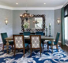 Essgruppe klassisch Spiegel Teppich  Blumenmuster blau