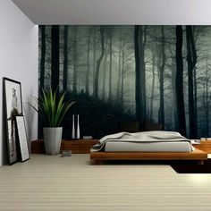 - A Dark and Misty Forest - Wall Mural, Removable Sticker, Home Decor - inches *The wall mural is cut into 4 pieces for easy installation, each in size is (Height x Width) *All wall murals have a durable water resistant