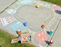 101 Genius Sidewalk Chalk Ideas To Crush Summertime Boredom Seriously Fun Sidewalk Chalk Art for Kids to PLAY In – Playing Cars in a Giant Sidewalk Chalk Town – at B-Inspired Mama Summer Activities, Toddler Activities, Toddler Fun, Learning Activities, Outdoor Activities, Chalk Art Christmas, Chalk Art Quotes, Art Tumblr, Mandala