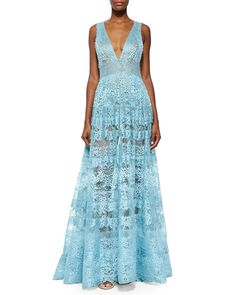 ELIE SAAB Sheer Backless Lace Gown Sea Mist $9,995 (Compare at $10,500 elsewhere) ANNE'S at THE TRUMP BUILDING NYC annesofnewyork.com
