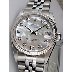 ... Rolex Datejust Lady 31 White Gold Steel Mother of Pearl Diamond Dial 78274 Jubilee WATCH CHEST ...