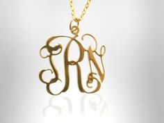 Buy Minimalist - Monogram Necklace - Personalized 1.0 inch Gold Monogram Necklace Custom Made Initials Monogrammed Jewelry by personalmonogram. Explore more products on http://personalmonogram.etsy.com