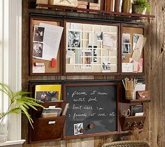 Build Your Own - Daily System Components - Rustic Mahogany stain #potterybarn Chalkboard in kitchen (part of cupboards?), whiteboard, hooks and filing system by desk