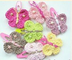 Check out our barrettes & clips selection for the very best in unique or custom, handmade pieces from our shops. Crochet Butterfly, Crochet Flower Patterns, Crochet Stitches Patterns, Crochet Motif, Crochet Flowers, Knit Crochet, Crochet Hair Clips, Crochet Hair Styles, Crochet Earrings
