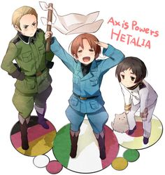 Hetalia- Axis Powers. We were talking about the axis powers today in class (Germany, Japan, and Italy) and this was what I pictured haha