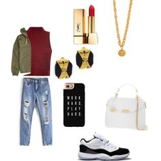 by qveeeeenn on Polyvore featuring polyvore, fashion, style, Glamorous, Concord, Versace, Chanel, Casetify, Element and Yves Saint Laurent