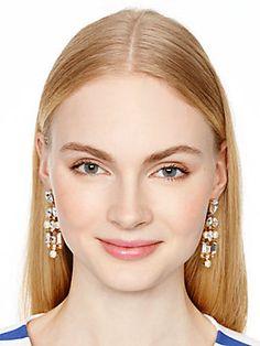 twinkling fete chandelier earrings, cream multi.  128