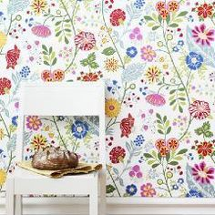 A Bold Coloured Wild Blooms Floral Trail Pink Red Blue Green White Amelie Nursery Wallpaper, Kids Wallpaper, Wallpaper Ideas, Designers Guild, Osborne And Little, Red Blue Green, Garden S, Amelie, Girl Nursery