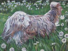Beardie Bearded Collie dog art CANVAS print of LA Shepard painting 12x16