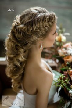 french braided long wedding hairstyle - Deer Pearl Flowers