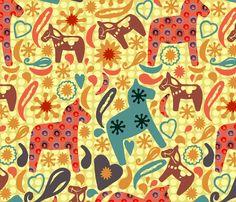 Homespun Horses fabric by slumbermonkey on Spoonflower - custom fabric