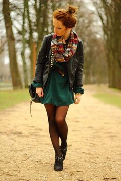 deep green dress + black leather + tights + flats + colorful scarf