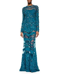 Beaded Sheer-Inset Lace Gown, Capri Blue by Elie Saab at Bergdorf Goodman.