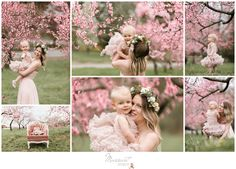 Styled portrait session of mother and daughter playing among the apple blossoms; flower crowns, tutus, vintage chair | Photos by Massart Photography of Warwick, RI | www.massartphotography.com; info@massartphotography.com