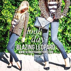 """When leopard and stripes meet, there's nothing """"corporate"""" about your daytime blazer."""