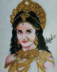 Shiva Art, Krishna Art, Hindu Art, Indian Women Painting, Indian Art Paintings, Bff Drawings, Girl Drawing Sketches, Indiana, Art Painting Gallery