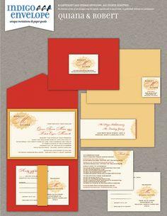 "Vintage embellishments were the inspiration for this red, orange, and gold ""z-card"" invitation. #vintagewedding #indigoenvelope"